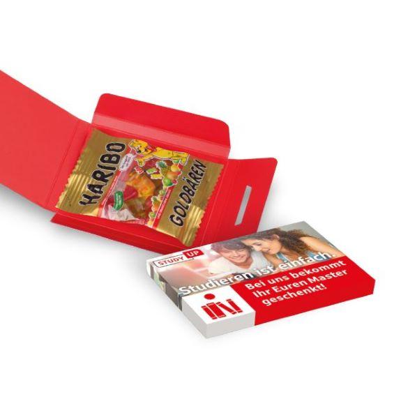 Haribo Fruchtgummi Werbebriefchen mit Haribo Goldbären und individuellem Druck auf dem Werbebriefchen.