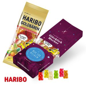 Original Haribo Fruchtgummitüte verpackt in einer Werbebox mit Aufreißlasche. Die Verpackung kann individuell bedruckt werden nach Wunsch.
