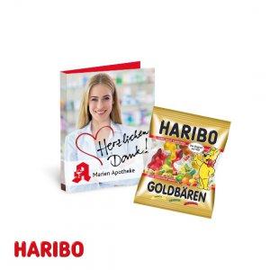 Haribo Fruchtgummi Werbekarte als Klappkarte mit individuellem Druck.