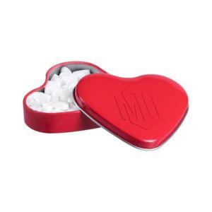 Herz Dose gefüllt mit Herz-Mints und individueller Prägung mit Ihrem Logo als Werbegeschenk.
