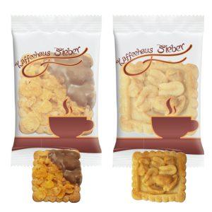 Die Leibniz Kekse Florentiner gibt es in 2 verschiedenen Geschmackssorten. Jeder Keks ist einzeln verpackt in Folie. Die Folie kann individuell bedruckt werden nach Kundenwunsch.