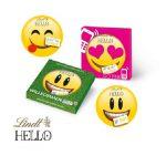 Lindt Hello Emoti in 30g Vollmilchschokolade in Präsentbox individuell bedruckt. Die Motive der Emoties sind bunt gemischt.