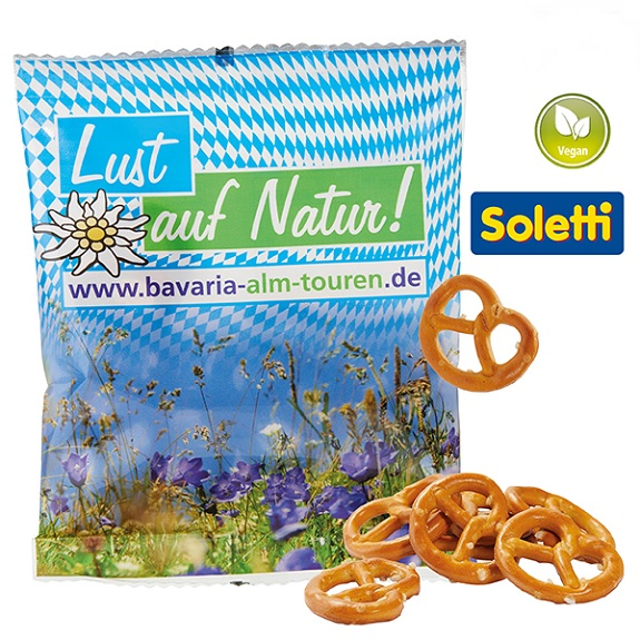 Mini Brezeln bedrucken als personalisierte Mini Brezeln und Mini Salzbrezeln mit Logo bedrucken als Werbeartikel..