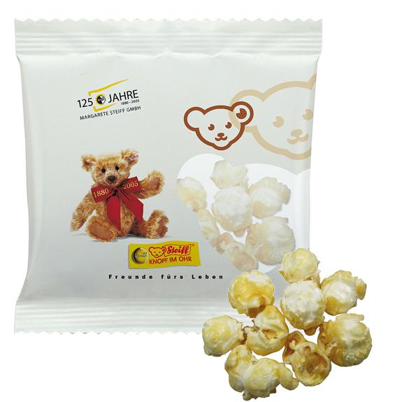 Popcorn im Werbetütchen als Werbeartikel individuell bedruckt mit Logo.