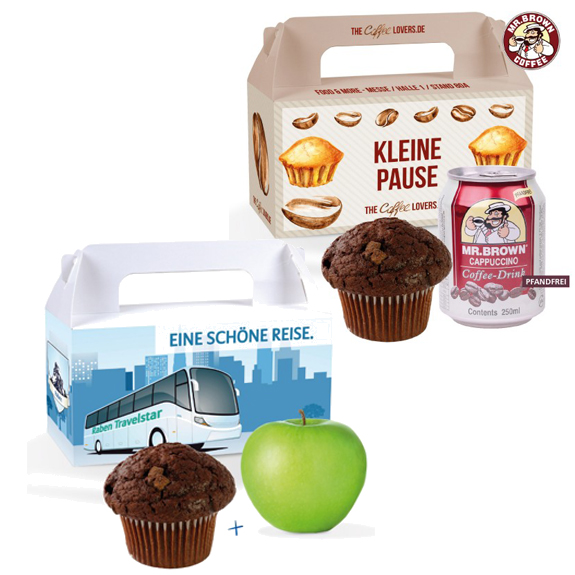 Die Snack Box ist gefüllt mit einem Apfel und einem Muffin oder einem Muffin und einem Coffee Drink. Die Snack Box kann individuell bedruckt werden nach Wunsch.