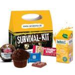 Snack pack Werbebox individuell bedruckt und gefüllt mit verschiedenen Süßigkeiten als Werbeartikel.