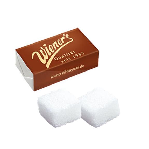 Zuckerwürfel bedruckt mit Logo verpackt zu 2 Zuckerwürfel als Werbeartikel.