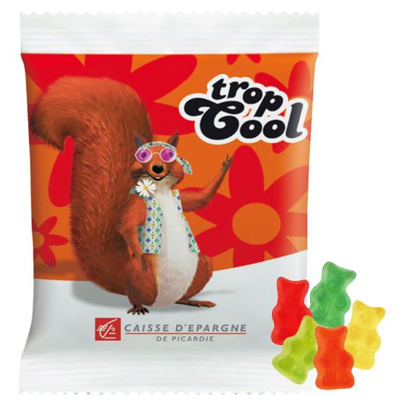 Die zuckerfreien Gummibärchen sind bunt gemischt in 6 verschiedenen Geschmackssorten. Die Werbetüte kann individuell bedruckt werden nach Wunsch.
