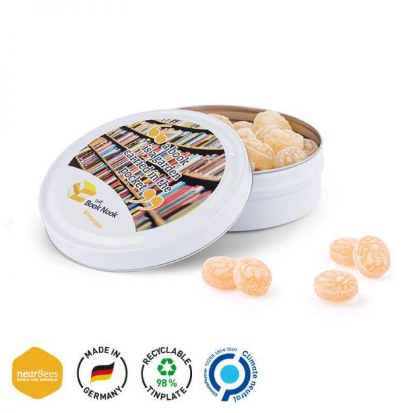 Bonbondose maxi mit Foto oder Logo bedruckt als Werbeartikel.