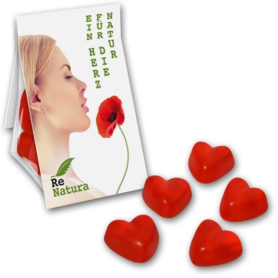 Der Bruchtgummi Herzen Promobag ist gefüllt mit 15-20g roten Fruchtgummiherzen. Die Werbekarte auf dem Promobag kann individuell bedruckt werden.
