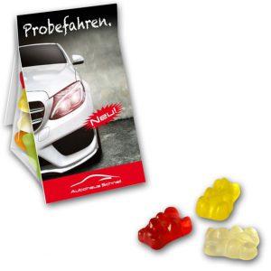 Der Gummibärchen Promobag ist ein Standbeutel gefüllt mit Gummibärchen. Die Werbekarte kann individuell bedruckt werden nach Wunsch.