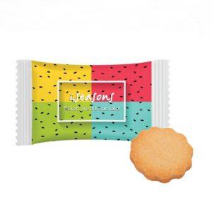 Die Butter Kekse sind mit Werbedruck und einzeln verpackt in Folie. Die Folie kann individuell mit Logo bedruckt werden.