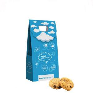 50g Haferflocken Mini Kekse in Werbebox verpackt als Standbeutel. Der Standbeutel wird individuell bedruckt mit Logo.