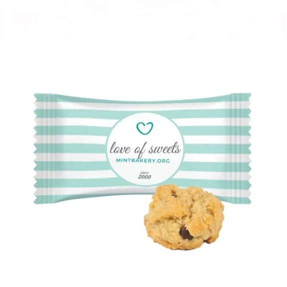 Die Haferflocken Kekse sind einzeln verpackt in Folie. Die Folie wird individuell bedruckt nach Wunsch.