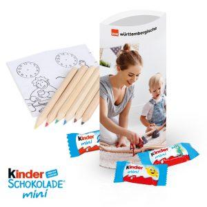 Kinder Schokolade Mini Riegel verpackt zu 5 Stück mit Mal-Set oder 8 Stück in einer individuell bedruckten Werbebox.