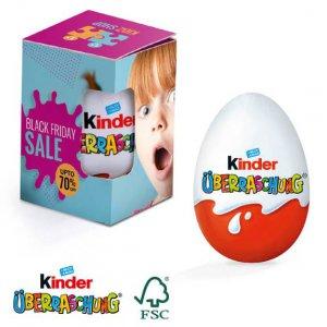 Kinder Überraschungs Ei in Werbebox individuell bedruckt mit Logo. Kinder Überraschungsei mit Logo individuell bedruckt.
