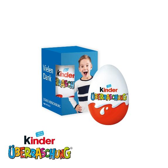 Kinder Überraschungs Ei einzeln verpackt in einer Werbebox mit individuellem Druck.
