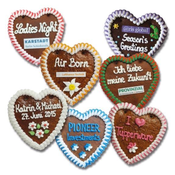 Lebkuchenherz selbst gestalten mit individuellem Namen und Logo.