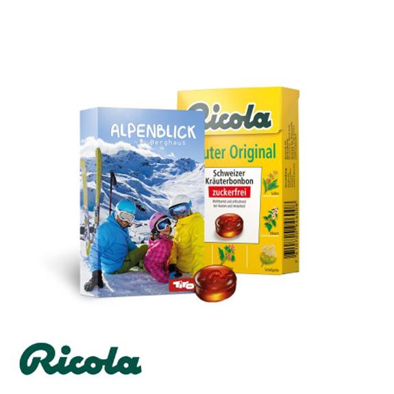 Ricola Kräuterbonbons in Box mit einer individuell bedruckten Werbebanderole.
