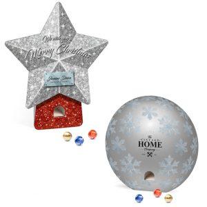 Der Adventsspender Stern + Rund ist gefüllt mit 24 Lindor Pralinés Kugeln. Der Adventsspender Stern + Rund kann individuell bedruckt werden.