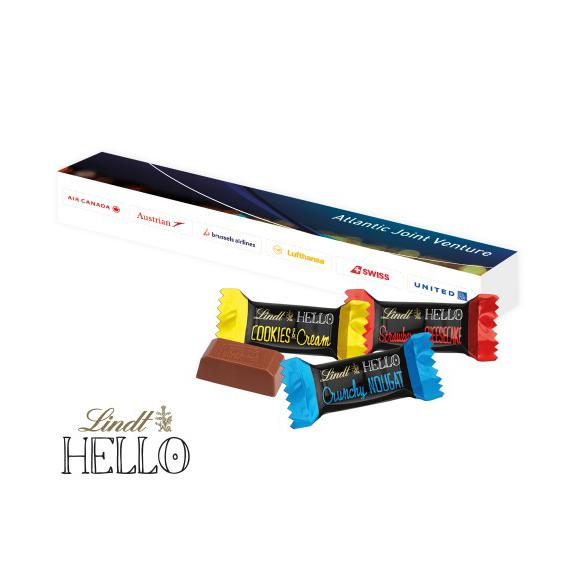 3 Stück Lindt Hello Mini Sticks in der Werbekartonage individuell bedruckt als Werbeartikel.