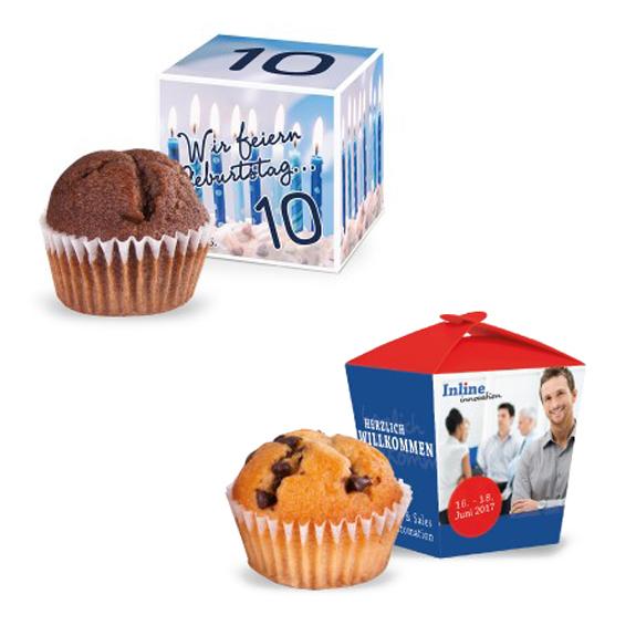 Mini Muffin in Werbe Verpackung individuell bedruckt als Werbegeschenk.