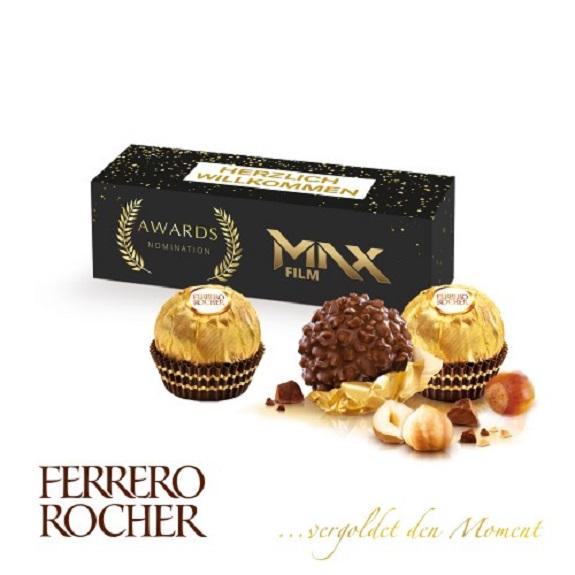 3 Ferrero Rocher verpackt in einer Werbeverpackung die individuell nach Wunsch bedruckt werden kann.