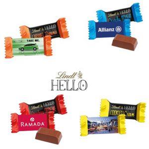 Lindt Hello mini im individuell bedruckten Werbeschuber