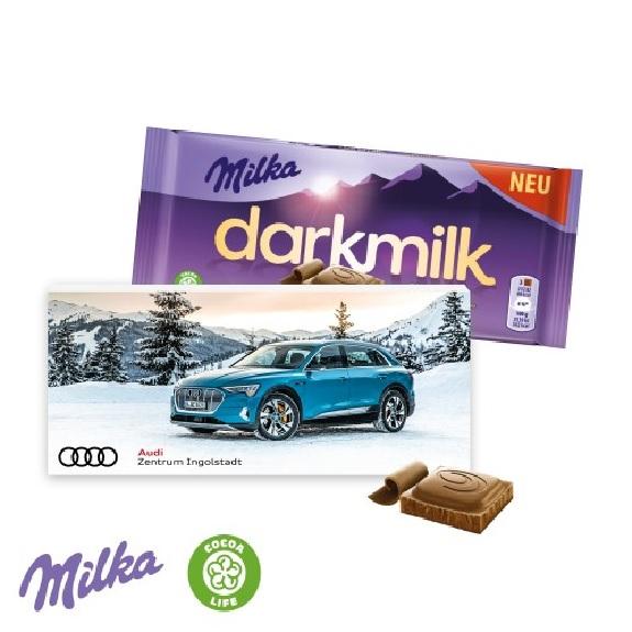 Die Milka darkmilk Tafel gibt es in 3 Sorten. Die Milka Tafel ist verpackt in einer Faltschachtel mit individuellem Druck.