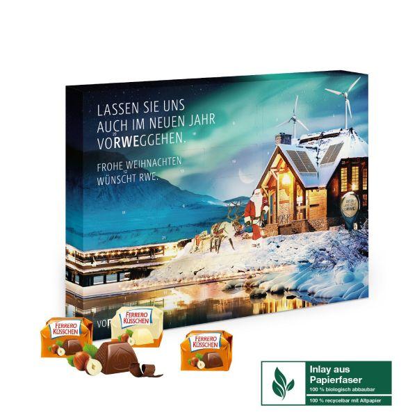 Adventskalender mit Ferrero Küsschen gefüllt und individuell bedruckt als Werbeartikel.