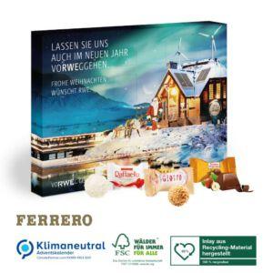 Adventskalender Ferrero individuell bedruckt als Werbeartikel und gefüllt mit Raffaello, Giotto oder Ferrero Küsschen.