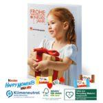 Adventskalender mit Kinder Schokolade und individuell bedruckt mit Firmenlogo als Werbeartikel.