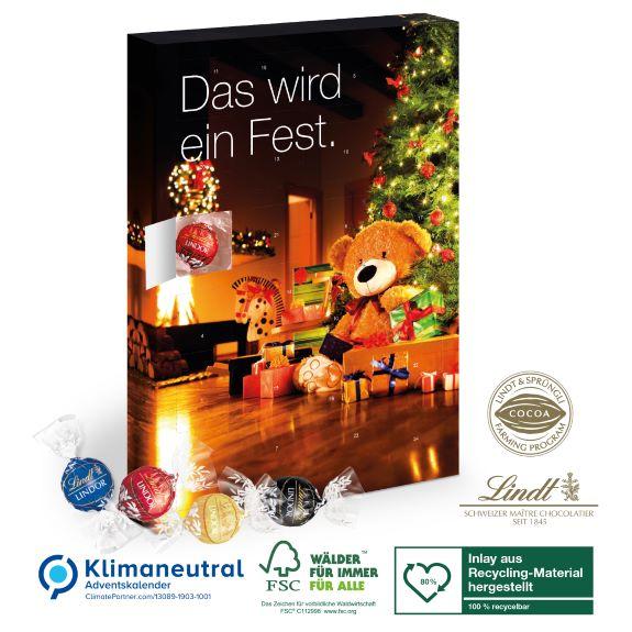 Adventskalender mit Lindt Lindor Pralinés gefüllt und individuell bedruckt als Werbegeschenk.