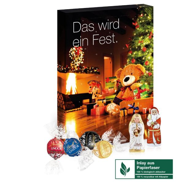 Adventskalender mit LIndt Lindor Kugeln indviduell bedruckt als Werbeartikel.