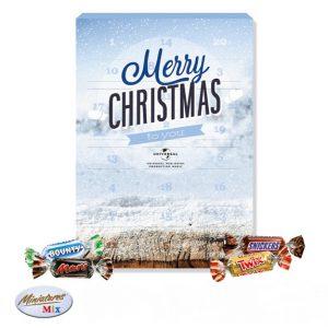 """Der Adventskalender """"Mars Miniatures Mix"""" wird individuell bedruckt nach Wunsch. Gefüllt mit Mini Bounty, Mars, Snickers und Twix."""