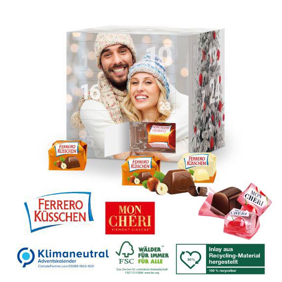 Adventskalender Würfel mit Ferrero Küsschen oder Ferrero Mon Cheri und individuellem Druck als Werbeartikel.