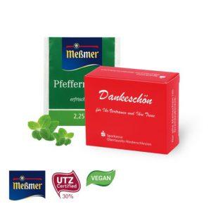 Der Messmer Tee ist zu 5 Teebeutel verpackt in einer Werbebox. Die Werbox kann individuell bedruckt werden.