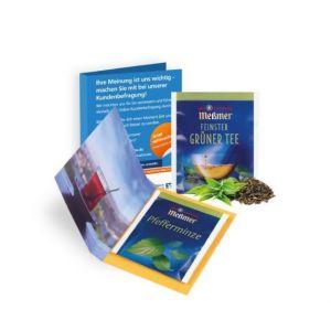 Meßmer Teebeutel 1er in Faltkarte oder Werbebriefchen mit Logo bedruckt als Werbeartikel.