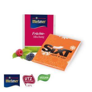 Meßmer Teebeutel einzeln verpackt in einem Werbebriefchen oder Werbe Faltkarte. Das Werbebriefchen oder die Faltkarte werden individuell bedruckt.