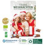 Ökologischer Adventskalender mit Bio Fair Plus Schokolade und individuellem Druck mit Logo.