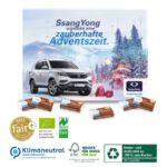 Ökologischer Tisch Adventskalender mit Bio Fairtrade Schokolade und individuellem Druck und Logo.