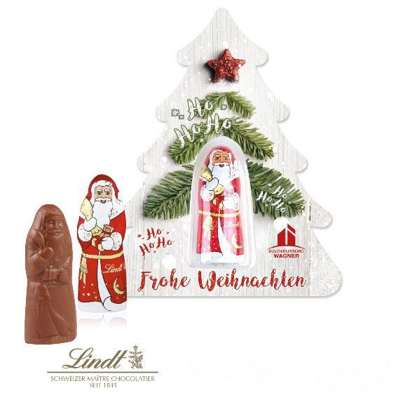 Die Premiumcard ist aus Karton und wird individuell bedruckt nach Wunsch. Die Karte gibt es in 3 verschiedenen Konturformaten. Ein Lindt Weihnachtsmann liegt in einem Blister auf der Karte.