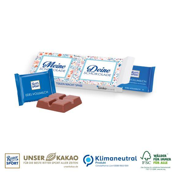 Ritter Sport mini Werbeartikel individuell bedruckt nach Wunsch mit Logo und Werbespruch.