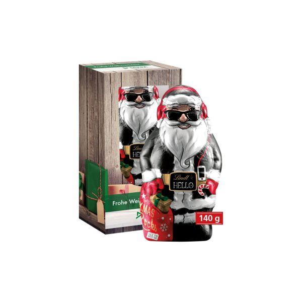 Lindt Weihnachtsmann Lindt HELLO 80 g und 140 g in individuell bedruckter Werbebox aus Karton als Werbeartikel.