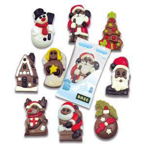 Schoko Weihnachtsfiguren einzeln verpackt in einer Werbetüte mit individuellem Druck.