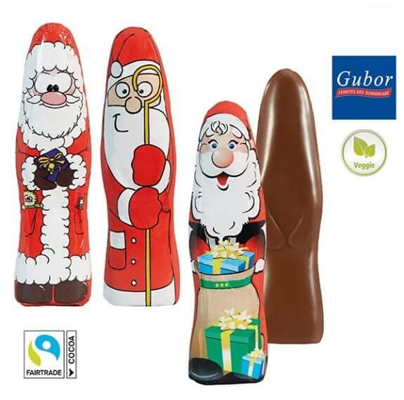 Schoko Weihnachtsmann flach der Marke Gubor aus 6g Vollmilchschokolade. 3 Standardmotive sind bunt gemischt verpackt.