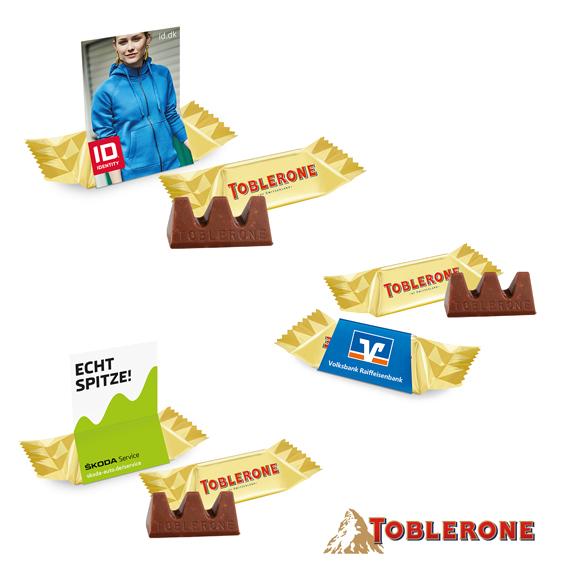 Toblerone mini 8g einzeln verpackt in einem individuell bedruckten Werbeschuber oder Werbeaufsteller.