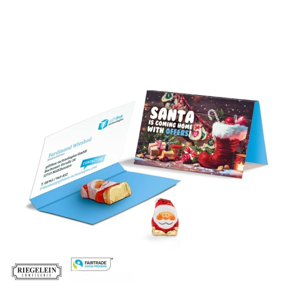 Faltkarte mit Abreißperforation und einem Schokoladenweihnachtsmann. Die Visitenkarte wird von der Faltkarte abgetrennt.