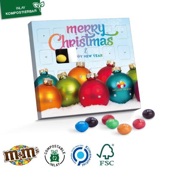 XS Adventskalender gefüllt mit M&Ms und individuell bedruckt mit Logo als Werbeartikel.