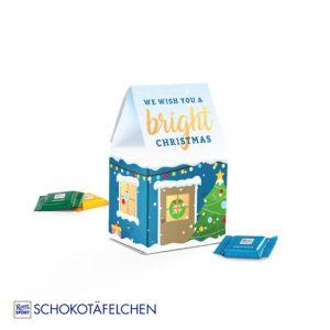3D Präsent Mini Haus aus Karton in 3D individuell bedruckt nach Wunsch. Das Mini Haus ist gefüllt mit 6 Täfelchen der Marke Ritter Sport.